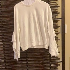 JOA white sweatshirt with ruffled sleeves NWT  med